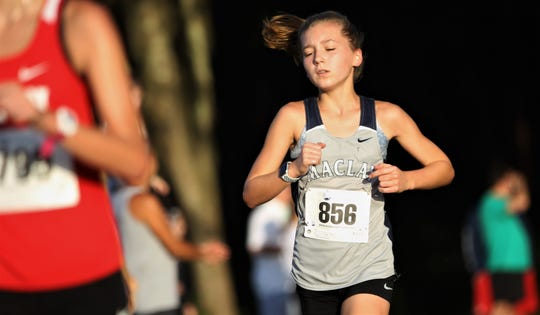 Maclay eighth-grader Gracie Koeppel races at the Red Hills Invitational cross country meet at Elinor Klapp-Phipps Park on Saturday, Sept. 14, 2019.