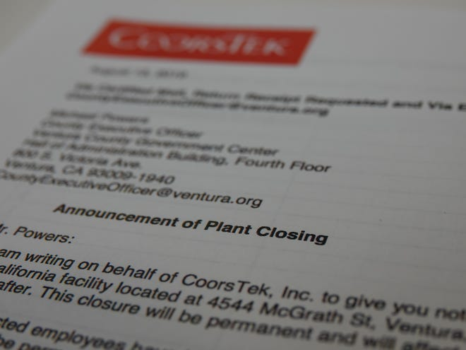 CoorsTek Inc. is closing its plant in Ventura, with 268 people to lose jobs, officials announced. The company manufactures advanced ceramics used in the aerospace, automotive and other industries.