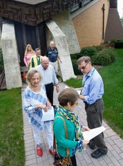 Missouri director and former national director of the Survivors Network of those Abused by Priests David Clohessy, of St. Louis, passes out fliers to parishioners on Sunday, September 15, 2019, at St. Michael's Catholic Church in Wausau, Wis. Clohessy shared information regarding priests who have been credibly accused of sexual abuse and have spent time in the Diocese of La Crosse. Tork Mason/USA TODAY NETWORK-Wisconsin