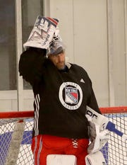 New York Rangers goalie Henrik Lundqvist practice at the Rangers practice facility in Greenburgh Sept. 15, 2019.