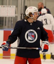 New York Rangers left wing Artemi Panarin during practice at the Rangers practice facility in Greenburgh Sept. 15, 2019.