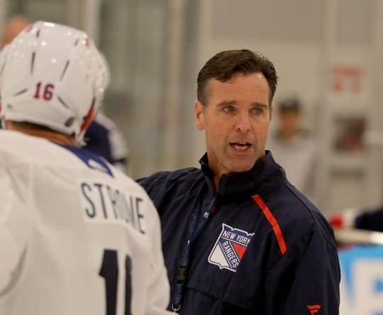 New York Rangers head coach David Quinn during practice at the Rangers practice facility in Greenburgh Sept. 15, 2019.