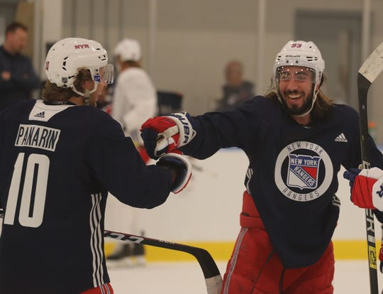 New York Rangers left wing Artemi Panarin and center Mika Zibanejad during practice at the Rangers practice facility in Greenburgh Sept. 15, 2019.