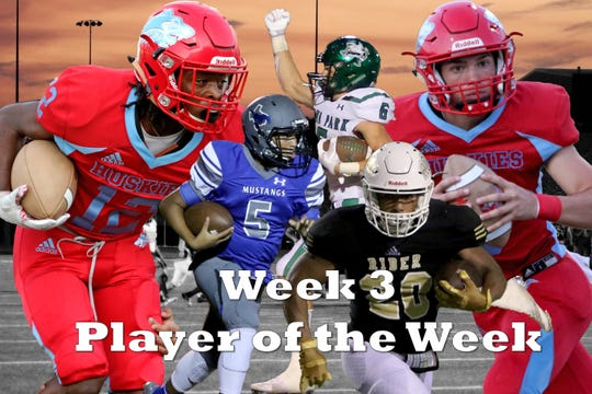 Nominees for Player of the Week are Hirschi's Stavonte Vaughn and Tryston Randall, Iowa Park's Jaydon Southard, City View's Isaiah Marks and Rider's Tre Byrd.