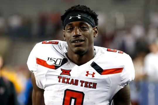 Texas Tech wide receiver T.J. Vasher (9) during the second half of an NCAA college football game against Arizona, Saturday, Sept. 14, 2019, in Tucson, Ariz. (AP Photo/Ralph Freso)