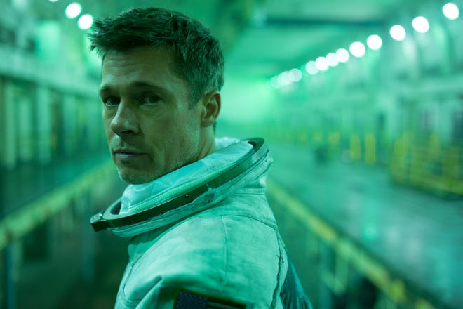 "Astronaut Roy McBride (Brad Pitt) goes to extreme cosmic lengths to save the world and find his father in ""Ad Astra."""