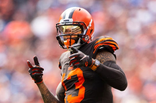 Cleveland Browns wide receiver Odell Beckham Jr. wears a watch during the game against the Tennessee Titans at FirstEnergy Stadium.