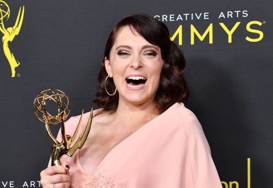 Rachel Bloom announced she is three months pregnant backstage at Creative Arts Emmy Awards.