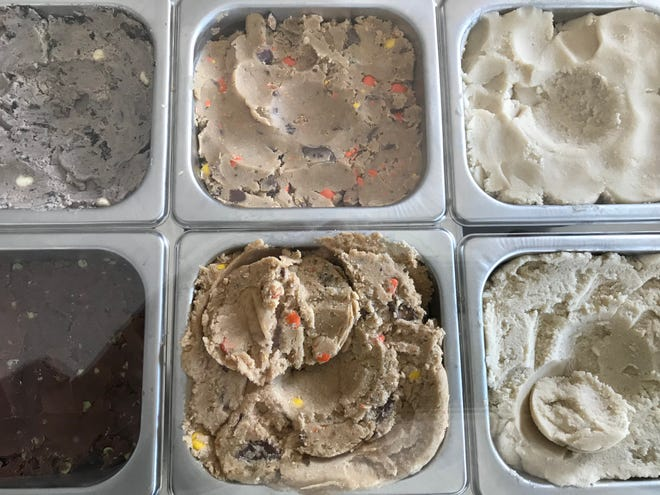 Doughlicious scoops cookie dough like ice cream.