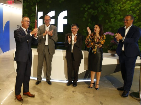 International Flavors & Fragrances CEO Andreas Fibig, left, during a ribbon-cutting ceremony at a new research and development lab at Bell Works in Holmdel, N.J. Monday, September 16, 2019.