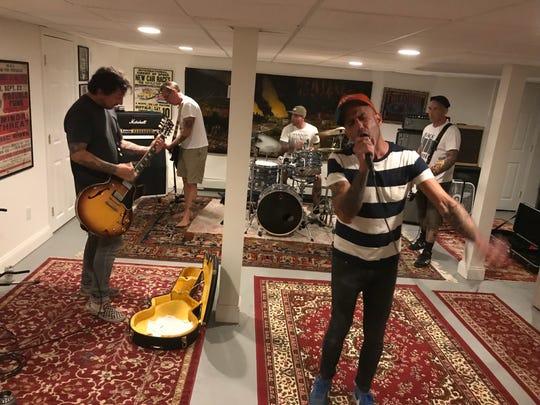 "Pete Steinkopf, from left, Brian Baker, Daniel ""Dubs"" Windas, Ari Katz and Bryan Kienlen of Beach Rats rehease in September 2019."