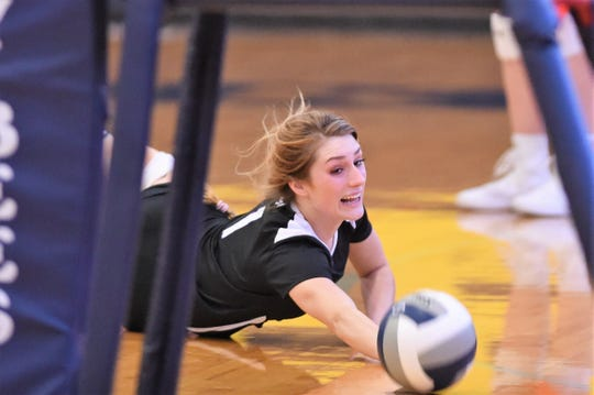 Wylie's Pierson Sanders (1) dives to try and reach the ball against Stephenville on Friday. Sanders is in her third year playing libero for the Lady Bulldogs and has grown in her confidence. When Wylie changes its defense in the middle of a match, it is oftentimes Sanders suggesting the switch.