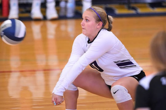 Wylie's Lilly New (10) goes to return a serve against Stephenville on Friday. New has made herself a key piece of the Lady Bulldogs back row.