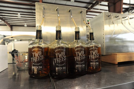 A recipe known as Batch 314 is bottled at Two Trees Distilling Co. on Sept. 10, less than 24 hours before the Fletcher distillery was set to send out its first shipment.