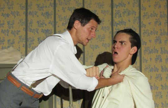 "Dylan Bowers as Stanley Jerome and Logan Mays as Eugene Jerome in ""Brighton Beach Memoirs"" at Surfside Playhouse in Cocoa Beach."