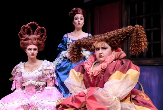 "Amy Lacy as Madame and her daughters, Kylee Brandon as Gabrielle and Victoria Narvaez as Charlotte, in ""Cinderella"" at Cocoa Village Playhouse."