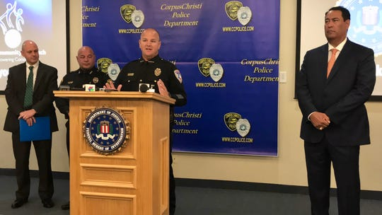 Corpus Christi Independent School District Police Chief Kirby Warnke speaks about the increase in school threats after the Parkland shooting during a news conference at the Corpus Christi Police Department on Monday, Sept. 16, 2019.