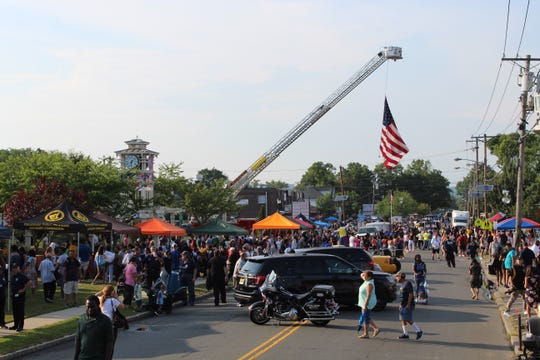 Piscataway's National Night Out is held on Stelton Road in the vicinity of clock tower of the Westergard Library.