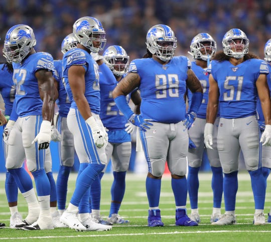 Detroit Lions' Damon Harrison (98) and the defense during the game against the Los Angeles Chargers, Sunday, Sept. 15, 2019 at Ford Field.