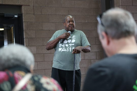 Chef Phil Jones was both the lead chef coordinator and the emcee at the Make Food Not Waste event in Detroit's Eastern Market on Sunday, Sept. 8, 2019, which provided 5,000 free meals to the public made from food that would've otherwise been thrown away.