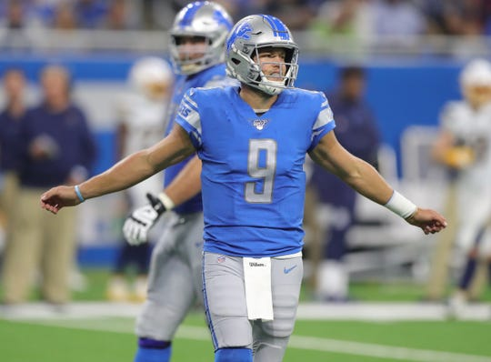 Detroit Lions quarterback Matthew Stafford reacts after a play during the second half against the Los Angeles Chargers, Sunday, Sept. 15, 2019 at Ford Field.