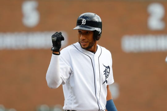 Tigers center fielder Victor Reyes celebrates his triple in the first inning on Monday, Sept. 16, 2019, at Comerica Park.