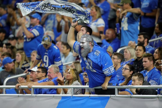 Detroit Lions fans cheer during the second half against the Los Angeles Chargers, Sunday, Sept. 15, 2019 at Ford Field.