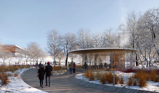 Ford's vision for its recreated campus in Dearborn includes many pavilions, plazas, and other outdoor spaces.