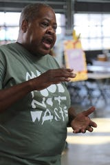 Chef Phil Jones is the lead chef coordinator of Make Food Not Waste, an event held in Detroit's Eastern Market on Sunday, Sept. 8, 2019, which provided 5,000 free meals to the public made from food that would've otherwise been thrown out.
