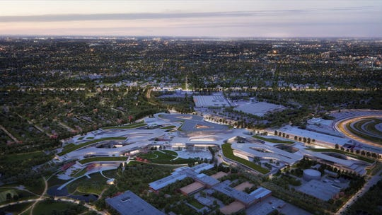 Rendering shows aerial view of how Ford Land plans to recreate its corporate campus in Dearborn.