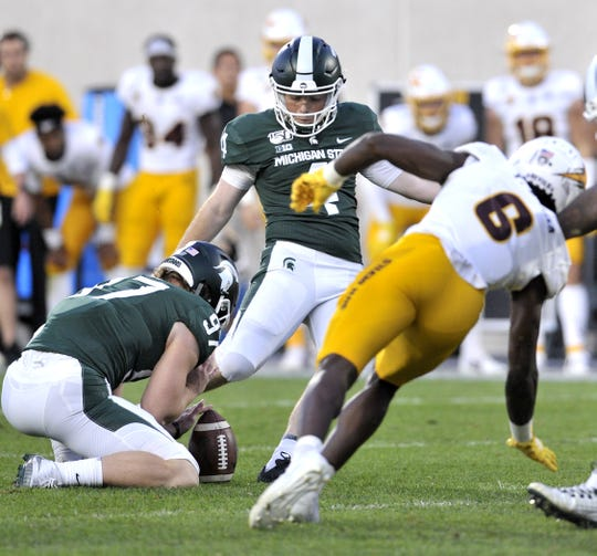MSU kicker Matt Coghlin misses his final field goal attempt Saturday against Arizona State that would have tied the game. Pac-12 conference officials say the officiating crew made a mistake on the play by not throwing a flag for a penalty by ASU that would have awarded Coghlin another attempt.