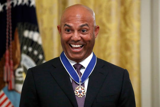 Former New York Yankees baseball pitcher Mariano Rivera smiles after being presented the Presidential Medal of Freedom by President Donald Trump in the East Room of the White House, Monday, Sept. 16, 2019.