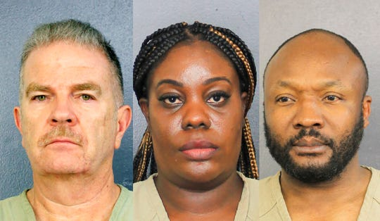 This undated photo provided by the Broward County Jail shows Jorge Carballo,  left, Althia Meggie and Sergo Colin. The three have been charged in the deaths of nursing home patients following Hurricane Irma in September 2017.