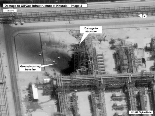 This image provided on Sunday, Sept. 15, 2019, by the U.S. government and DigitalGlobe and annotated by the source, shows damage to the infrastructure at Saudi Aramco's Kuirais oil field in Buqyaq, Saudi Arabia.