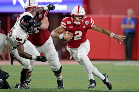 Nebraska quarterback Adrian Martinez (2) has thrown for four touchdowns, and rushed for three more.