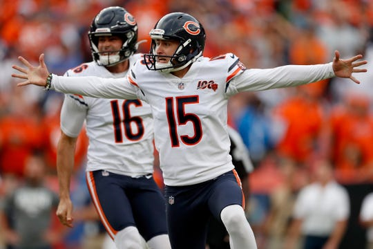 Bears kicker Eddy Pineiro (15) celebrates his game-winning field goal against the Broncos on Sunday.