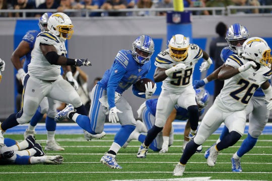 Rookie running back Ty Johnson rushed for 30 yards on five carries in Detroit's home opener last weekend.
