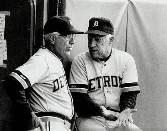 Sparky Anderson with Alex Grammas, left, during their Tigers days.
