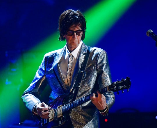 In this April 14, 2018, file photo, Ric Ocasek, from the Cars, performs during the Rock and Roll Hall of Fame Induction ceremony in Cleveland. Ocasek, famed frontman for The Cars rock band, has been found dead in a New York City apartment.