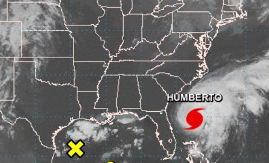Shown is the 7 a.m. Sept. 16, 2019, weather advisory for Hurricane Humberto, located here a couple hundred miles east-northeast of Cape Canaveral, Florida.
