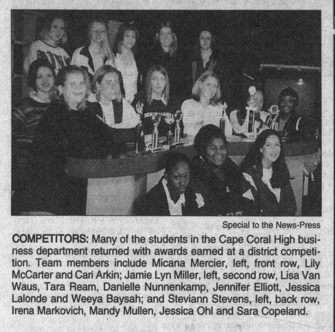 In 1999, 49 Cape students participated in the annual, district business school competitions, and 30 of them ranked in the first five places in their categories.