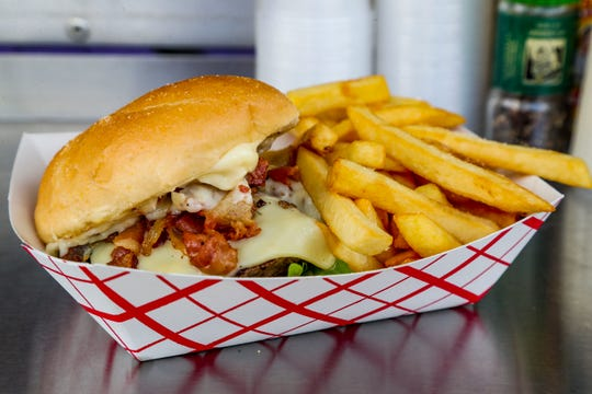 Wicked Streatery's Bistro Burger is finished with bourbon-bacon jam.