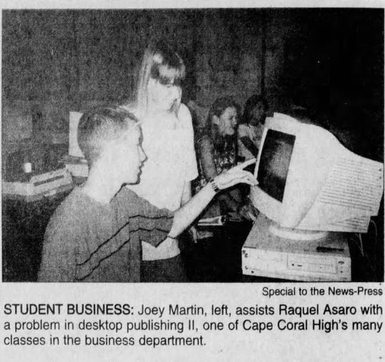 In 1998, Cape High in offering courses in keyboarding, word processing, computer applications and desktop publishing.