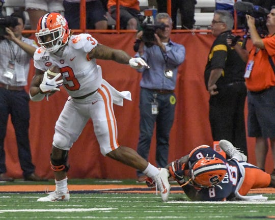 Clemson wide receiver Amari Rodgers (3) breaks away from Syracuse senior Antwan Cordy(8) and runs 87-yards for a touchdown during the third quarter at the Carrier Dome in Syracuse, New York, Saturday, September 14, 2019.