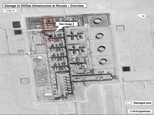 This image provided on Sunday, Sept. 15, 2019, by the U.S. government and DigitalGlobe and annotated by the source, shows damage to the infrastructure at Saudi Aramco's Khurais oil field in Buqyaq, Saudi Arabia. The drone attack Saturday on Saudi Arabia's Abqaiq plant and its Khurais oil field led to the interruption of an estimated 5.7 million barrels of the kingdom's crude oil production per day, equivalent to more than 5% of the world's daily supply. (U.S. government/Digital Globe via AP)