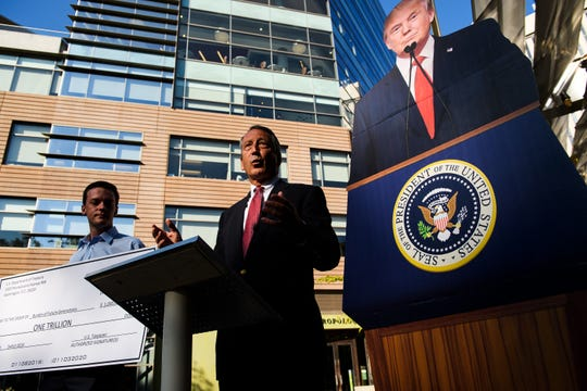Republican presidential candidate Mark Sanford holds a press conference at ONE City Plaza Monday, Sept. 16, 2019.