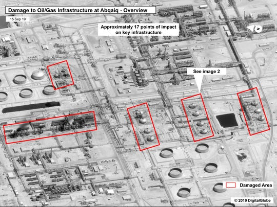 This image provided on Sunday, Sept. 15, 2019, by the U.S. government and DigitalGlobe and annotated by the source, shows damage to the infrastructure at Saudi Aramco's Abqaiq oil processing facility in Buqyaq, Saudi Arabia. The drone attack Saturday on Saudi Arabia's Abqaiq plant and its Khurais oil field led to the interruption of an estimated 5.7 million barrels of the kingdom's crude oil production per day, equivalent to more than 5% of the world's daily supply. (U.S. government/Digital Globe via AP)