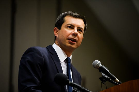 Democratic presidential candidate Pete Buttigieg speaks at a Upstate Chamber Coalition breakfast event Monday, Sept. 16, 2019.