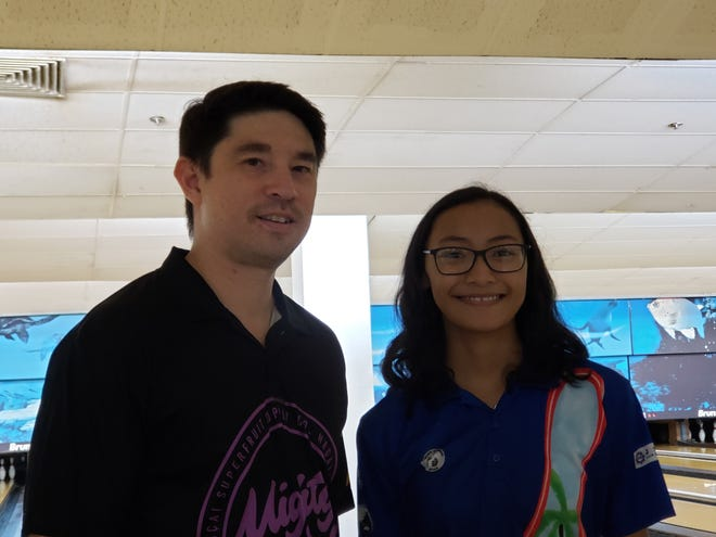 Left: Jay Leon Guerrero and Naiyah Taimanglo took home top bowling titles Sept. 15, 2019 at the Central Bowling Lanes in Tamuning. Leon Guerrero was crowned Aloha Maid King of the Lanes and Taimanglo was named Prince.