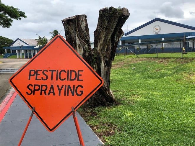 Contractors sprayed for mosquitoes Sunday and Monday at Agueda Johnston Middle School and Ordot Chalan Pago Elementary School